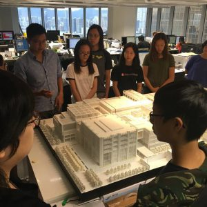 Alumnus Nick Tsao leading a tour around the Foster + Partners Hong Kong office