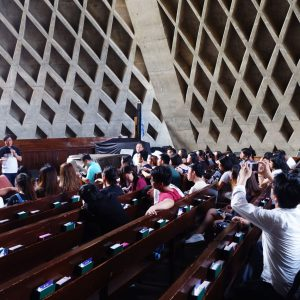Prof. Chiu Hao-hsiu, Chair of THU's Department of Architecture, giving a lecture to our students at the Luce Chapel