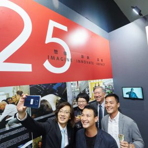 Vincent getting a selfie with Corrin, Nelson, and 2015 MArch graduates Marco Wong and Samuel Wong, who designed the Times Square Living Room Museum.