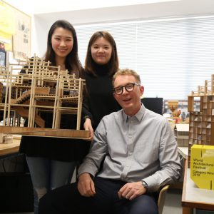 Peter and his team - Beryl Wong (left) and Milly Lam - at Condition_Lab
