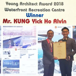Alvin Kung receives the HKIA Young Architect Award from HKIA President Mr. Felix Li